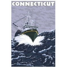 Connecticut - Crab Fishing Boat Scene: Retro Travel Poster by Eazl Premium Gallery Wrap, Size: 24 x 36, Multicolor