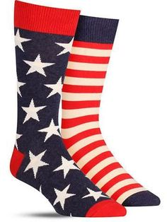 These cool American flag socks feature the stars on one foot and the stripes on the other. Perfect for the Fourth of July! American Flag Socks, Cool American Flag, Crazy Socks, Cool Socks, Men's Socks, Fun Dress Socks, Blue Socks, Novelty Socks, Colorful Socks