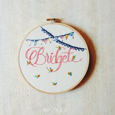 Nursery Art Name Sign Bunting and Blossoms Personalized Wall Art Embroidery Hoop Art Linen