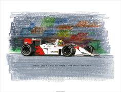 Ayrton Senna on his way to winning the 1988 British Grand Prix in the McLaren Pen&ink and markers on watercolour paper © Paul Chenard 2013 Original art available, as are limited editions. British Grand Prix, Mclaren Mp4, Car Posters, Automotive Art, Sports Art, Limited Edition Prints, Art History, Markers, Monster Trucks