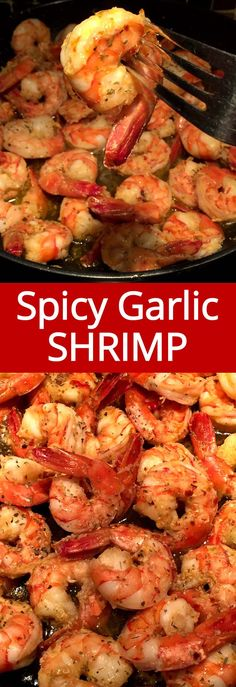 This spicy garlic shrimp is amazing! Ready in 5 minutes! Shrimp with fresh garlic, spices and olive oil – mouthwatering! This spicy garlic shrimp is amazing! Ready in 5 minutes! Shrimp with fresh garlic, spices and olive oil – mouthwatering! Spicy Shrimp Recipes, Lemon Garlic Butter Shrimp, Garlic Shrimp Pasta, Fish Recipes, Fresh Garlic, Seafood Recipes, Cooking Recipes, Healthy Recipes, Garlic Oil