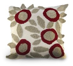 I like the abstract flowers in this crochet pillow
