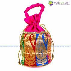 Potli Bag - Raw Silk with Big Golden Mango Design | #Wedtree #PotliBags #DesignerPotliBags