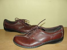 Clarks Bendables 80647 Womens Size 9M Brown Leather Laced Oxford Sneakers Shoes #Clarks #Oxfords #WeartoWork