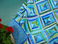 Batik String Quilt Handmade Patchwork Throw by RedAmaryllisQuilts