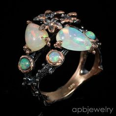 All top rainbow Natural Opal 925 Sterling Silver Ring Size 8.25/R27234 #APBJewelry #Ring