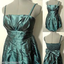 New POETRY Metallic Pleated Bubble Dress womens S Teal mini Empire Formal Prom