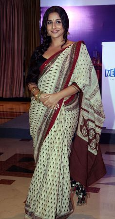 Bollywood film actress Vidya Balan looked simply smashing at a press conference of the upcoming Indian Film Festival of Melbourne, which will celebrate 100 years of Indian Cinema, in Mumbai. The actress looked beautiful in a printed off-white sari with a red border.