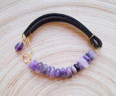 Lana gemstone beaded leather women bracelet boho chic stacking friendship yoga wristband black purple amethyst leather goldfill gift for her