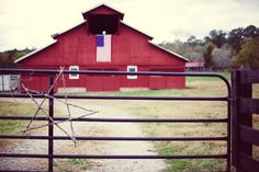 Public Domain Images – Old Red Barn Black Fence Christmas Star American Flag