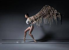"""Araminta Wraith of the Scottish Ballet. """"Taking Off"""" a year's worth of pointe shoes. Photo by ASH"""