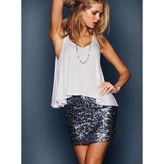 Sequin skirt and white cotton sharkbite halter top