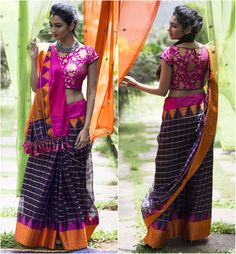 Purple kota silk with zari checks and a traditional border | House Of Blouse