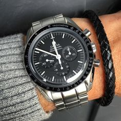 From @Wbracelet  Omega Speedmaster paired with 6mm braided leather bracelet by @blaabear #Wbracelet #Wwatches by w.watches #rolex #submariner