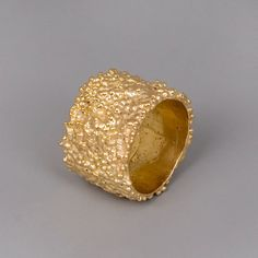"""Wide Gold Band Ring - """"Lava"""" - Handmade 14k Yellow Gold Plated Jewelry"""