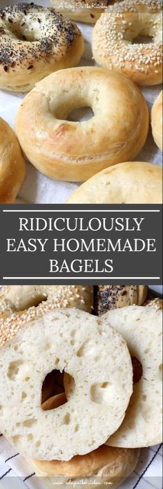 Making homemade bagels can't get any easier than this! With no boiling required, these bagels come together with less than 5 ingredients! Homemade bagels have never been so easy to make yourself! No yeast or boiling required! Bread Recipes, Baking Recipes, Pain Pizza, Homemade Bagels, Easy Homemade Snacks, Puddings, Love Food, The Best, Food To Make
