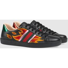 Gucci Ace Sneaker With Flames (€530) ❤ liked on Polyvore featuring men's fashion, men's shoes, men's sneakers, gucci, gucci mens shoes, mens leather shoes, gucci mens sneakers, mens leather sneakers and mens metallic gold sneakers