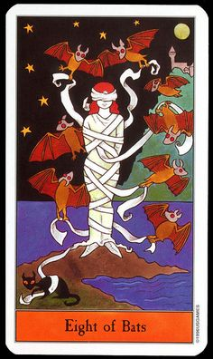 Halloween Tarot: Eight of Bats by Kipling West, via Flickr