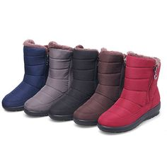 Waterproof Fur Lining Warm Mid Calf Snow Boots For Women
