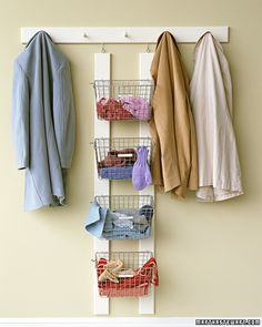 Nice way to store and display your handmade winter accessories. >> How To Organize Winter Wear In The Entryway // Live Simply by Annie