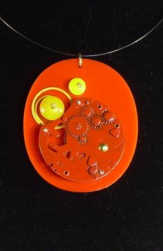Pendant made from red Perspex, a few beads and some old pocket watch pieces.  $30 Old Pocket Watches, Western Australia, Artisan, Beads, Store, Pendant, Design, Beading, Larger