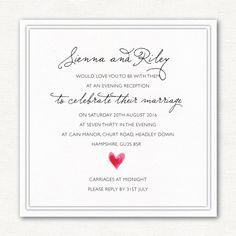 Watercolour Heart Evening Invitations | Luxury Wedding Invitations