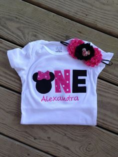 Hot pink and black minnie mouse birthday outfit - 1st birthday shirt and headband - custom birthday shirt
