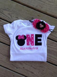 Rosa y negro camiseta de cumpleaños de minnie mouse cumpleaños traje - 1er y diadema - camiseta personalizada del cumpleaños