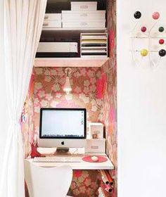 love: wallpaper!//closet office - idea for one side of big closet. can use as desk but at resale looks like shelving. yay.