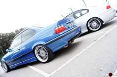 Estoril blue BMW e36 coupe on cult classic Alpina wheels