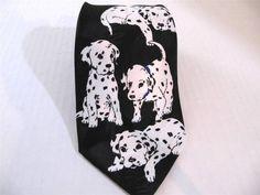 Novelty Dalmatian Dog Neck Tie Black White Surrey $11.88 #DalmatianDog #NeckTie
