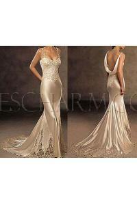 gold mermaid wedding dress
