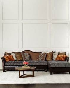 Brenda+Chaise+Sectional+Sofa+by+Massoud+at+Neiman+Marcus.