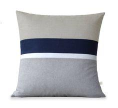Linen Chambray Striped Pillow Cover 20x20 Grey by JillianReneDecor