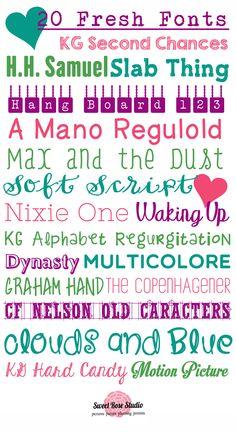 20 Fresh Fonts, all FREE!