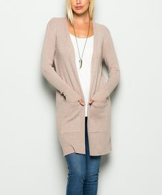 Look what I found on #zulily! Taupe Open-Front Cardigan by Avenue Hill #zulilyfinds