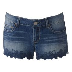 SO Embroidered Scalloped Hem Shortie Shorts - Juniors