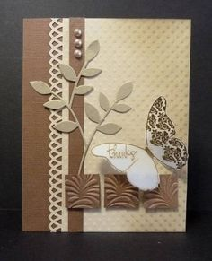 handmade card ... monochromatic browns ... embossing folder texture ... die cut leaves and butterfly ... border punch ... inchies ... three brown pearls ...  lovely card ...
