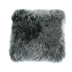 Coussin en peau naturelle de mouton poils courts 35 x 35 cm gris Sabatier