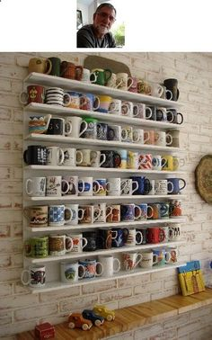 #Coffee cup wall to show off your #starbucks coffee mug collection. Love.