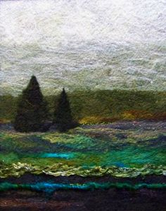This is an original needlefelt wool painting with a design size of 11 x It is entirely done by hand with various wools on felt with art yarn and silk Felt Wall Hanging, Felt Pictures, Creative Textiles, Needle Felting Tutorials, Textile Fiber Art, Wool Art, Landscape Quilts, Nuno Felting, Felt Art