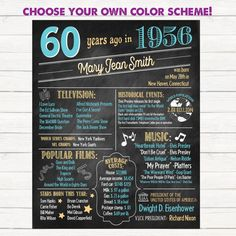 60th Birthday Poster. 60th Anniversary Poster. Chalkboard Poster. Born in 1956. 60 Years Ago. 60th Birthday Gift.