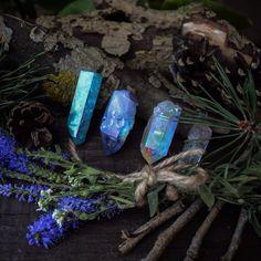 Aqua Aura Quartz Crystals // Crystal Fairy Vibes