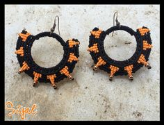 Micro macrame tribal earrings