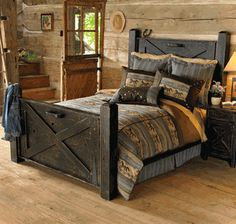 Black Distressed Barn Door Bed ~ Would not be that hard to make DIY