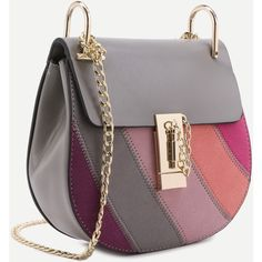 4aacfc20a0e3 Color Block Faux Leather Flap Saddle Bag With Chain (49 BAM) via Polyvore  featuring
