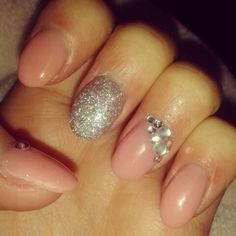 My gel nails with gems and silver glitter. Xx