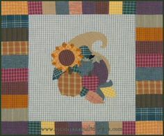 Homespun Harvest Cornucopia Quilt Pattern [free to members] http://www.victorianaquiltdesigns.com/VictorianaQuilters/PatternPage/HomespunHarvest/HomespunHarvestCornucopia.htm #quilting