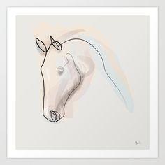 minimal, horse, animal, one line, Quibe