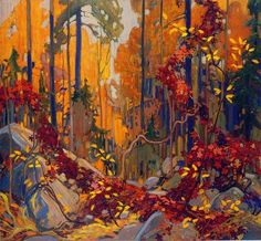 """""""Autumn's Garland"""" - by member of the Group of Seven Canadian painters, Tom Thomson. Emily Carr, Canadian Painters, Canadian Artists, Landscape Art, Landscape Paintings, Canada Landscape, Forest Landscape, Watercolor Landscape, Oil Paintings"""